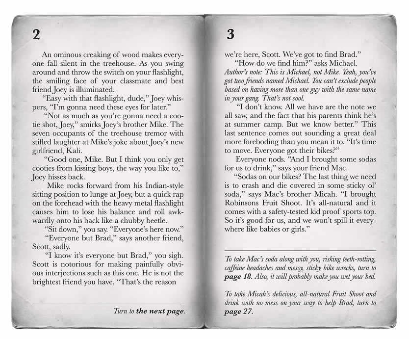Pages from the Choose Your Own Adventure book